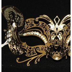 Venetian Metal Laser-Cut Gold Masquerade Mask with Rhinestones
