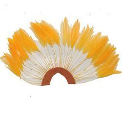 9in Wide x 5in Tall Yellow Feather Hair Piece w/ Stones