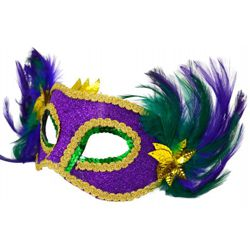 Purple Green and Gold Sequin Masquerade Mask With Feathers
