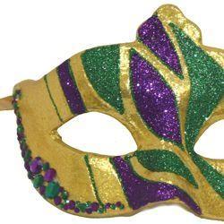 Mardi Gras Glittered Masquerade Mask with Rhinestones