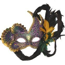 Venetian Paper Mache Styled Masquerade Mask with Fans and Feathers On Top Side