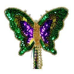 16in Tall x 4 1/2in Wide Mardi Gras Butterfly Wand