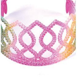 3 1/2in Tall x 6in Wide Glittered Plastic Rainbow Tiara w/ Combs