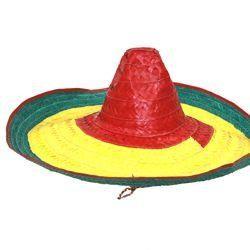 22in Wide x 8in Tall Multicolored Straw Sombrero Hat
