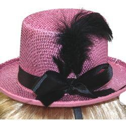 6 1/2in Wide x 3in Tall Pink Mini Top Hat w/ Black Feather