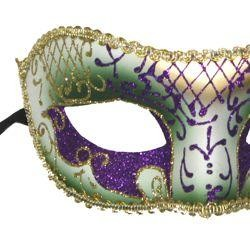 Venetian Mardi Gras Masquerade Masks with Glittery Scrollwork