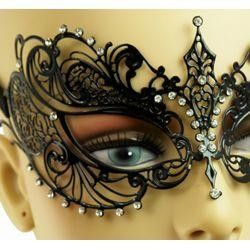 Venetian Metal Black Laser-Cut Masquerade Mask with Rhinestones