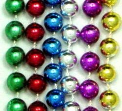 72in 12mm Round Metallic 6 Assorted Color Beads
