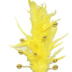 Yellow Beaded Feather Spray