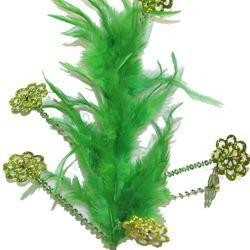 Green Feather with Sequins Spray