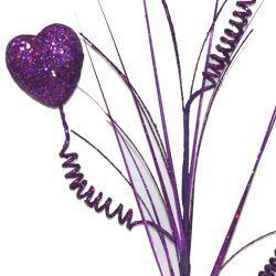 Purple Glitter Heart 3D Stem