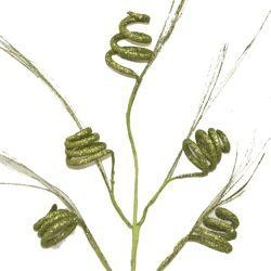 36in Tall Green Glitter Curly Spray