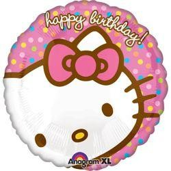 18in Birthday Hello Kitty Dots Mylar Balloon