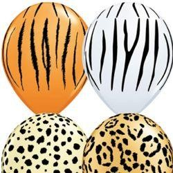 11in All Over Safari/ Animal Print Assorted Latex Balloons