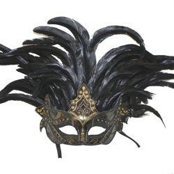Assorted Venetian Men Masquerade Masks with Feathers