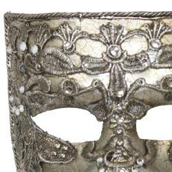Silver Venetian Men Masquerade Mask with Fabric Design (Macrame) and Rhinestones {gasparilla, pirate