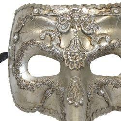 Silver Venetian Papier Mache Men Masquerade Mask with 7in Long Nose