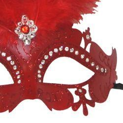 Red Venetian Masquerade Mask with Rhinestones and Red Ostrich Feathers