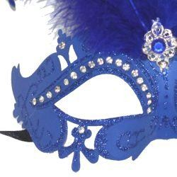 Blue Venetian Masquerade Mask with Rhinestones and Blue Ostrich Feathers