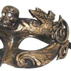 Black and Gold Venetian Men Masquerade Mask with Skull Head And with Rhinestones {gasparilla, pirate
