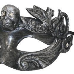 Black and Silver Venetian Men Masquerade Mask with Skull Head And with Rhinestones {gasparilla, pira