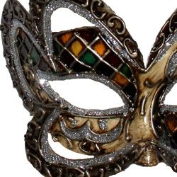 Hand Painted Venetian Silver and Gold Masquerade Mask