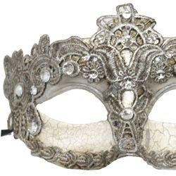 Silver Venetian Macrame Masquerade Mask with Rhinestones