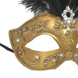 Gold Venetian Masquerade Mask with Rhinestones And Black Ostrich Feathers