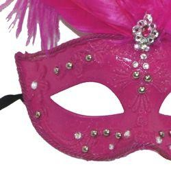 Hot Pink Venetian Masquerade Mask with Rhinestones And Hot Pink Ostrich Feathers