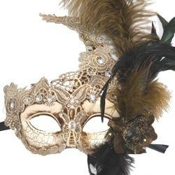 Venetian Macrame Cream and Gold Masquerade Mask with Rhinestones And Feathers