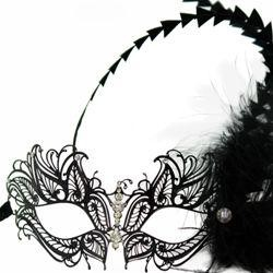 Venetian Black Metal Laser-Cut Masquerade Mask with Rhinestones And Feathers