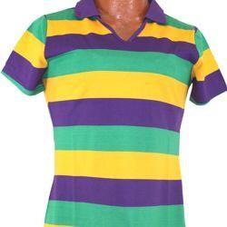 Women Mardi Gras Style T-Shirt W/Short Sleeve/ Collar Large Size Large Size