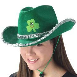 13in Wide x 7in Tall Velt St. Patrick Cowgirl Hat w/ Silver Sequins And Shamrock {st patrick, shamro