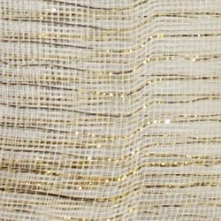 21in x 30ft White Mesh Ribbon w/ Metallic Gold Stripes