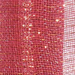 21in x 30ft Wine colored Mesh Ribbon w/ Metallic Gold Stripes