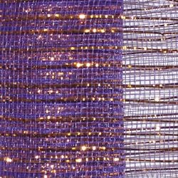 21in x 30ft Purple Mesh Ribbon w/ Metallic Gold Stripes