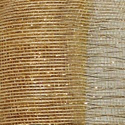 21in x 30ft Ivory Mesh Ribbon/ Netting w/ Gold Metallic Stripes