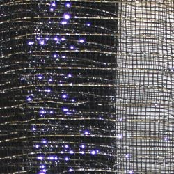 21in x 30ft Black Mesh Ribbon w/ Metallic Silver Stripes