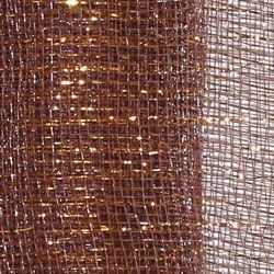 21in x 30ft Brown Mesh Ribbon/ Netting w/ Gold Metallic Stripes