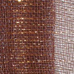 21in x 30ft Brown Mesh Ribbon/ Netting w/ Gold Metallic Stripes