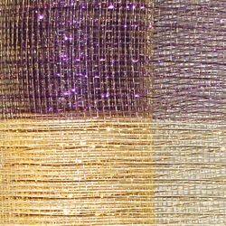 21in x 30ft Purple/ Green/ Gold Band Mesh Ribbon w/ Gold Metallic Stripes