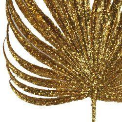Decorative Glittered Gold Palm Leaf