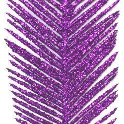 25in Tall x 5in Wide Decorative Glittered Purple Leaf