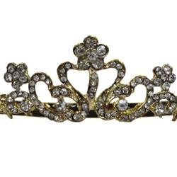 Rhinestone Gold Metal Tiara with Combs