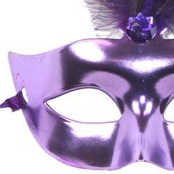 Plastic Purple Masquerade Mask with Feathers