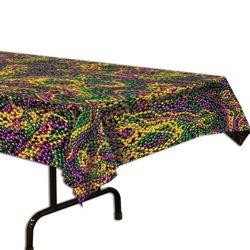 4.5ft x 9ft Table Cover w/ Mardi Gras Beads Design