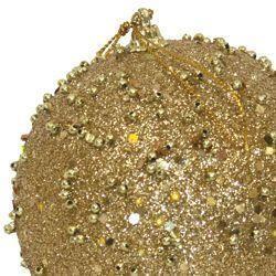 100mm Glittered Decorative Gold Ball Ornament
