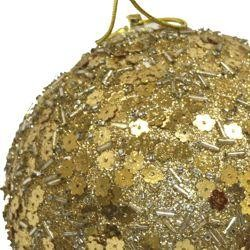 150mm Glittered Gold Ball Ornament