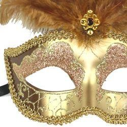 Dark Cream and Gold Venetian Masquerade Mask with Large Ostrich Plumes