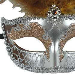Dark Cream and Silver Venetian Masquerade Mask with Large Ostrich Plumes